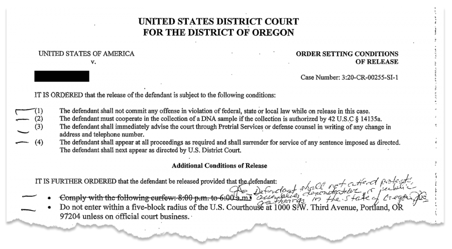 "Magistrate Judge John V. Acosta modified a court order to prohibit a Portland protester from attending ""protests, assemblies, demonstrations, or public gatherings in the state of Oregon."" The defendant's name was redacted by ProPublica. (Obtained by ProPublica)"